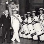 1954 Aldo Pagani primo tamburo nella Banda della Marina Militare suona per il Presidente Einaudi a Palazzo Vecchio Firenze