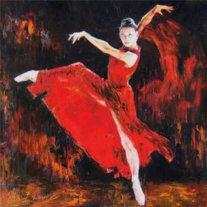 Ballerina-in-red-painting-by-Russian-realist-artist-Anna-Vinogradova