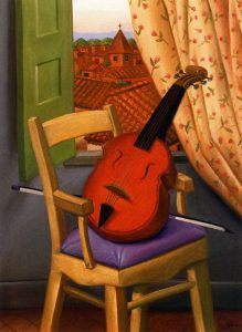 Still-Life-with-Violin-Fernando-Botero-oil-painting-1